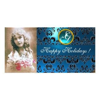 BLACK AND BLUE  DAMASK Sapphire Monogram Card