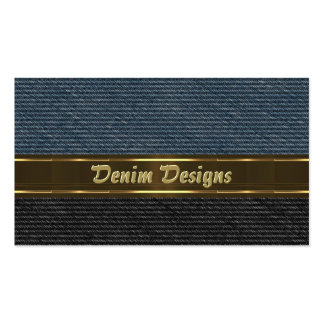 Black and blue denim panels with gold colors business card