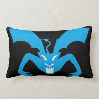 Black And Blue Devil Lumbar Pillow