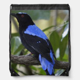 Black and Blue Drawstring Bag