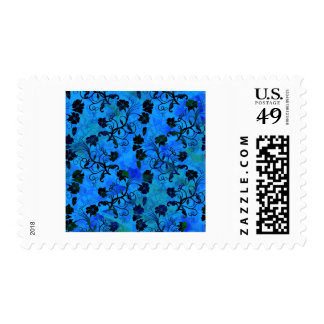 Black and Blue Floral Abstract Pattern Stamp