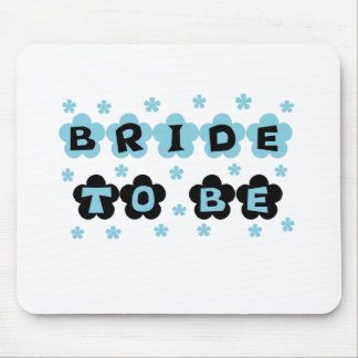 Black and Blue Flowers Bride to Be Mouse Pad