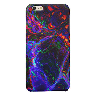 Black and Blue Fractal Abstract Art Glossy iPhone 6 Plus Case