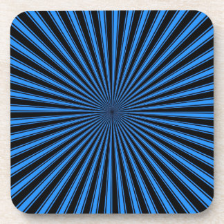 Black and Blue Funky Striped Abstract Art Coaster