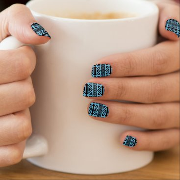 Aztec Themed Black and Blue Geometric Pattern Aztec Nail Art