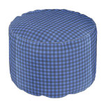 Black and Blue Gingham Round Pouf