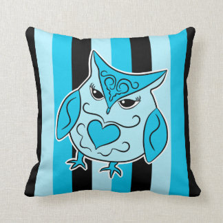 Black and blue girly owl on stripes throw pillows