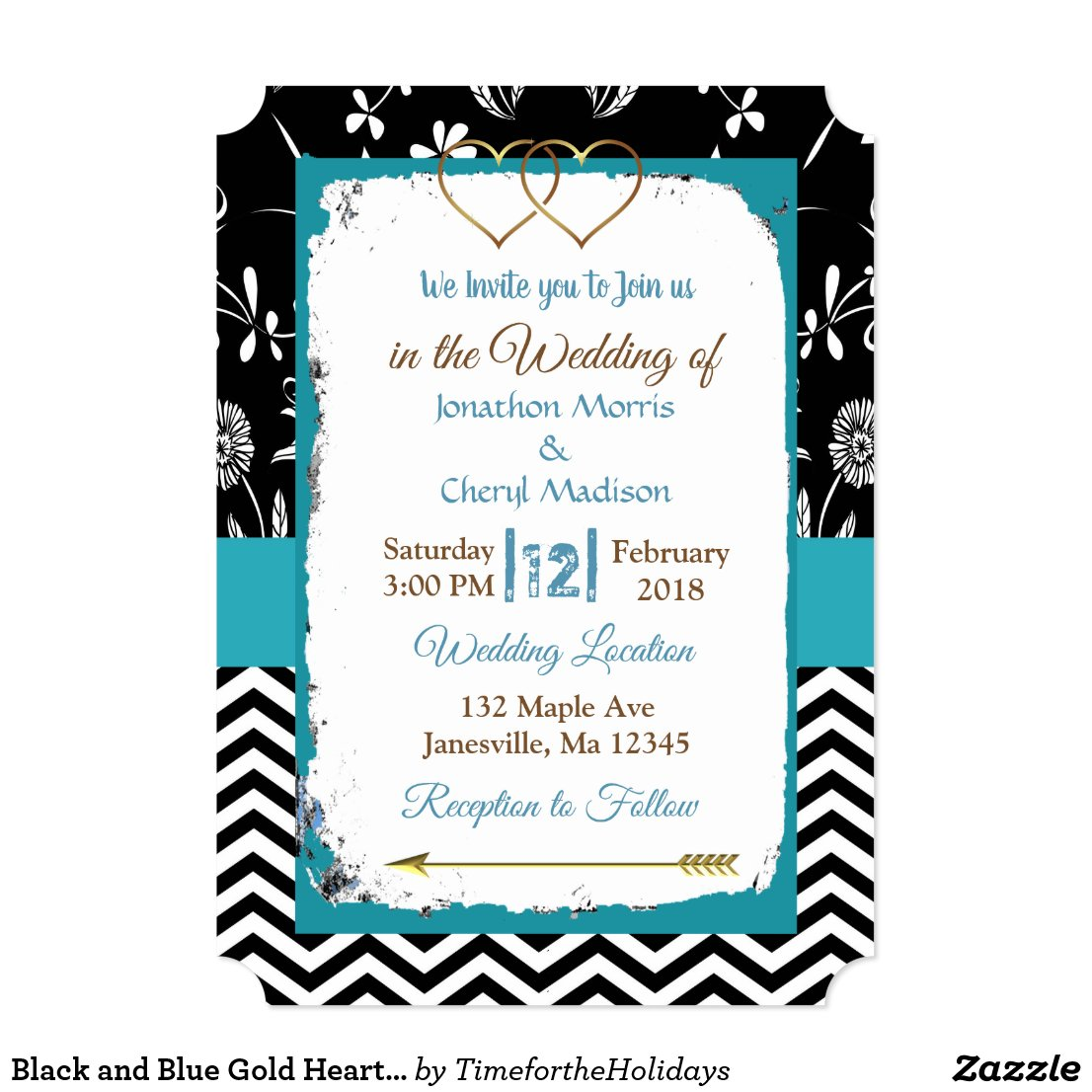 Black and Blue Gold Hearts Wedding Invitation