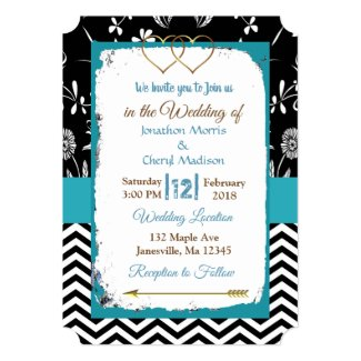 Black and Blue Gold Hearts Wedding Invitation