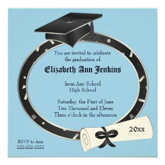 Black and Blue Graduation Party Invitation