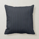 Black and Blue Gray Stripes Throw Pillow