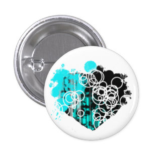 Black and Blue Heart Button