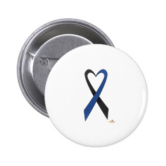 Black And Blue Heart Shaped Awareness Ribbon Button