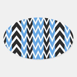 Black and Blue Heartbeats Oval Sticker