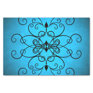 """Black and blue hearts and swirls 10"""" x 15"""" tissue paper"""