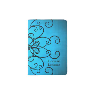 Black and blue hearts and swirls personalized passport holder
