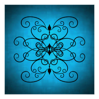 Black and blue hearts and swirls poster