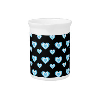Black and blue hearts drink pitchers