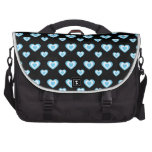 Black and blue hearts laptop bag