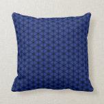Black and Blue Hexagon Throw Pillow