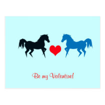 Black and Blue Horses in Love Postcard