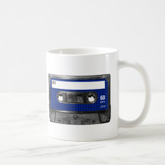Black and Blue Houndstooth Label Cassette Coffee Mug