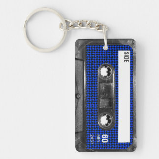 Black and Blue Houndstooth Label Cassette Keychain