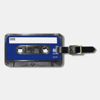 Black and Blue Houndstooth Label Cassette Tags For Luggage