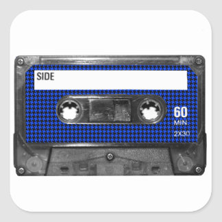Black and Blue Houndstooth Label Cassette Stickers