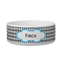 Black and Blue Houndstooth | Personalized Cat Dish
