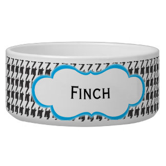 Black and Blue Houndstooth   Personalized Dog Dish