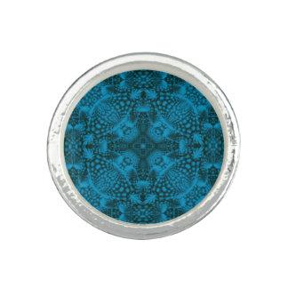 Black And Blue Kaleidoscope  Custom Rings