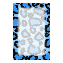 Black and Blue Leopard Print Pattern. Stationery
