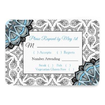 Wedding Themed Black and Blue Mandala Wedding RSVP card
