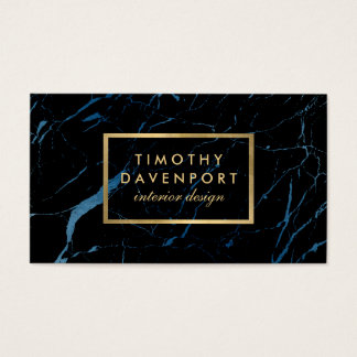 Black and Blue Marble with Faux Gold Text Designer Business Card