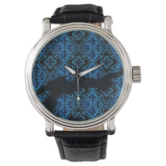 Black and Blue Medieval Grunge Floral Watch