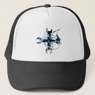 Black and Blue Moon Cross Trucker Hat