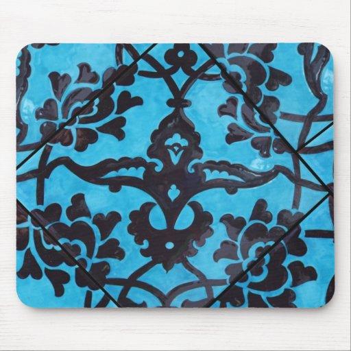 Black and Blue Mosaic Tile Mousepad