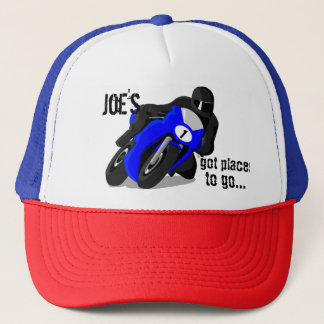 Black and Blue Motorcycle Customized Cap