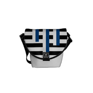Black and Blue Nautical Mixed Stripe Messenger Bag