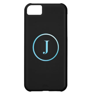 Black and Blue Neon Caslon J Monogram iPhone 5C Cover