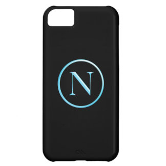 Black and Blue Neon Caslon N Monogram iPhone 5C Cover
