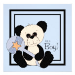 Black and Blue Panda Baby Shower Personalized Invites