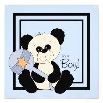 Black and Blue Panda Baby Shower Invitation