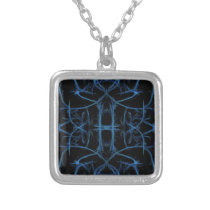 Black and Blue Pattern Design Silver Plated Necklace