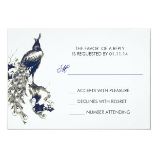 black and blue peacock drawing wedding RSVP cards
