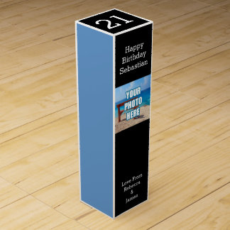 Black And Blue Personalized Wine Bottle Boxes