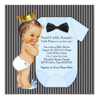 Black and Blue Pinstripe Prince Baby Shower Card