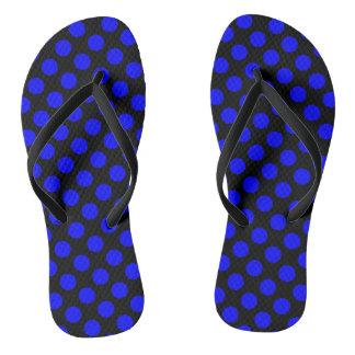Black and Blue Polka Dot Flip Flops