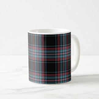Black and Blue Retro Grunge Plaid Coffee Mug